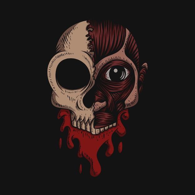 頭蓋骨なし皮膚血イラスト Premiumベクター