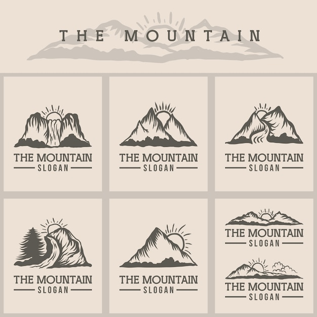 山の夕日のロゴのベクトル図 Premiumベクター