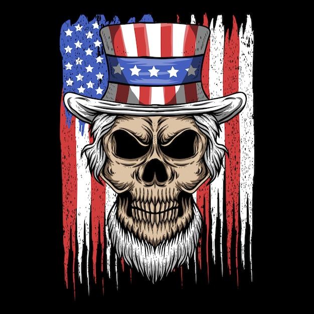 頭蓋骨叔父サムアメリカアメリカ国旗ベクトルイラスト Premiumベクター