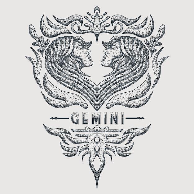ジェミニ干支ヴィンテージ Premiumベクター