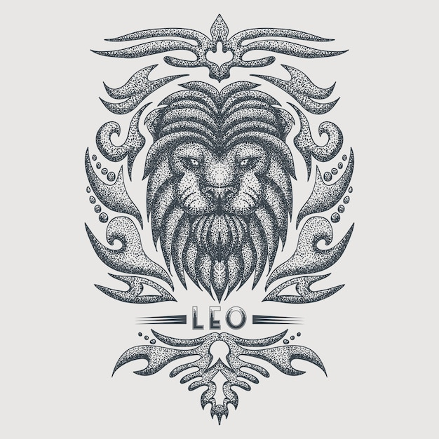 Лев зодиак винтаж Premium векторы