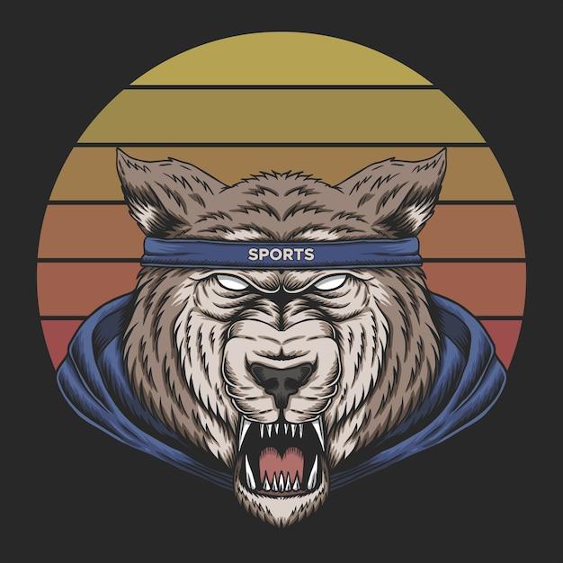 Волк спорт закат ретро Premium векторы