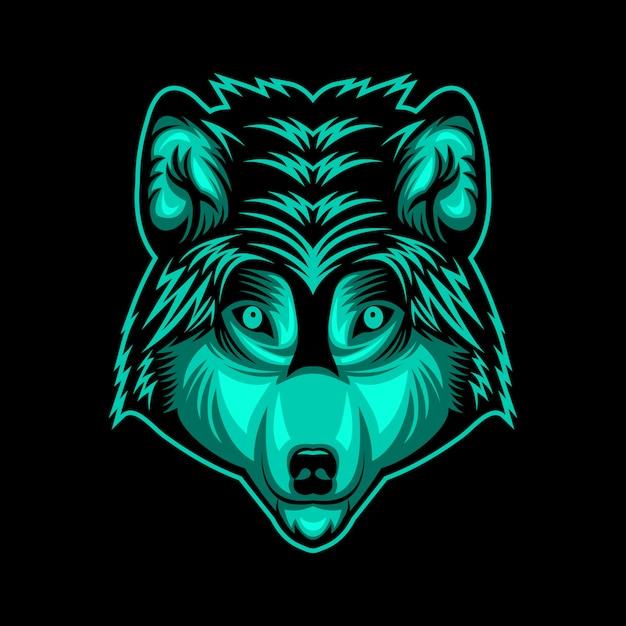 オオカミ頭顔ベクトルデザインイラスト Premiumベクター