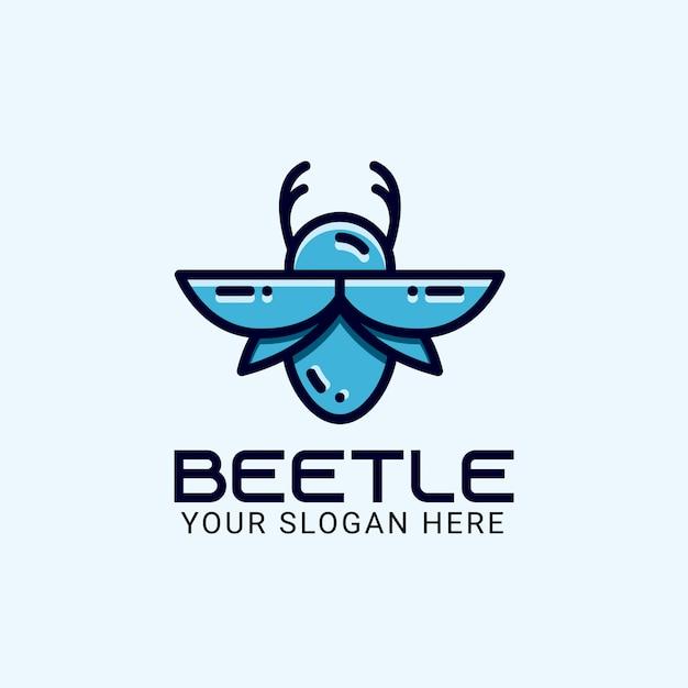 カブトムシのロゴのテンプレート Premiumベクター
