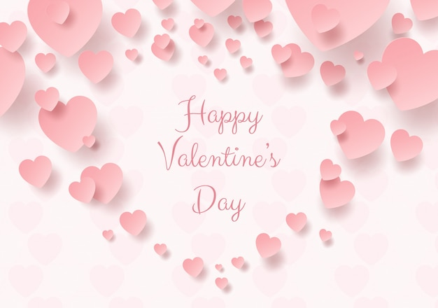 バレンタインのピンクのハートの紙アート Premiumベクター
