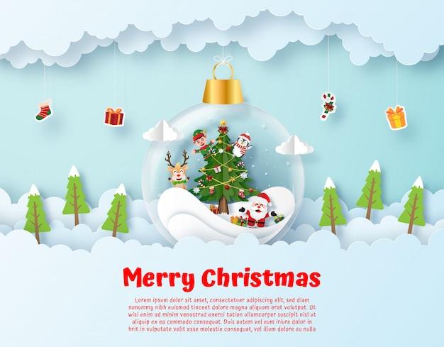Санта-клаус и друг в висели рождественский бал на небе Premium векторы