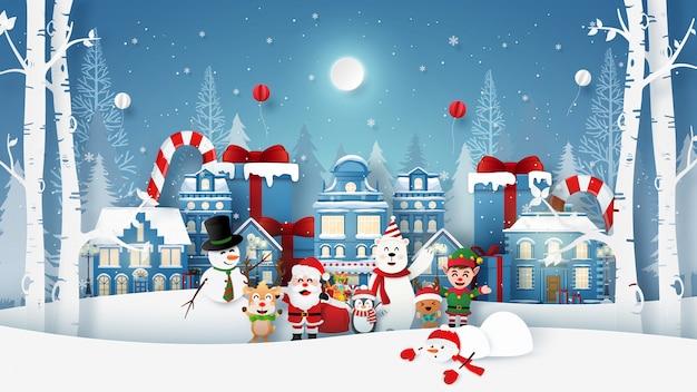 Рождественская вечеринка с дедом морозом и милым персонажем в снежном городке Premium векторы