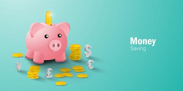 Концепция экономии денег, положить монету в копилку среди монет и знак валюты Premium векторы