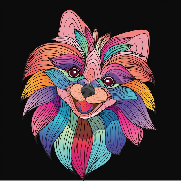 カラフルな様式化されたふわふわ犬の頭 Premiumベクター