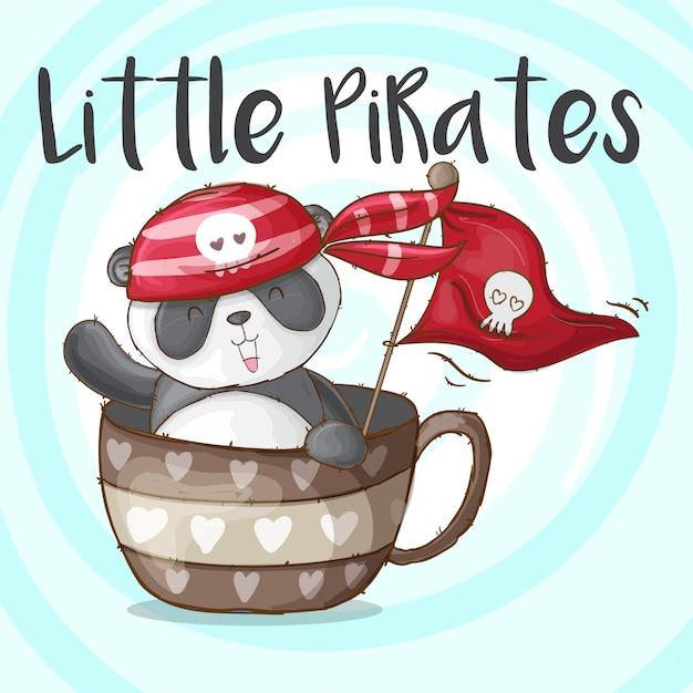 Симпатичные панда животных маленькие пираты-вектор Premium векторы