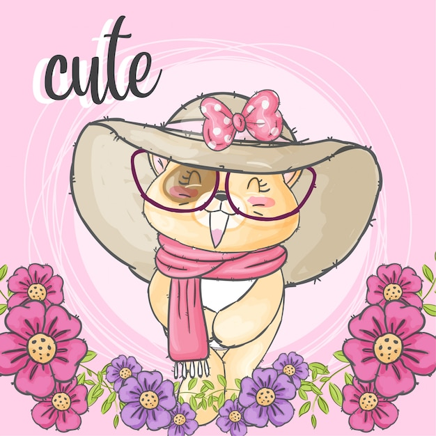 花のフレームでかわいい猫手描きの動物 Premiumベクター