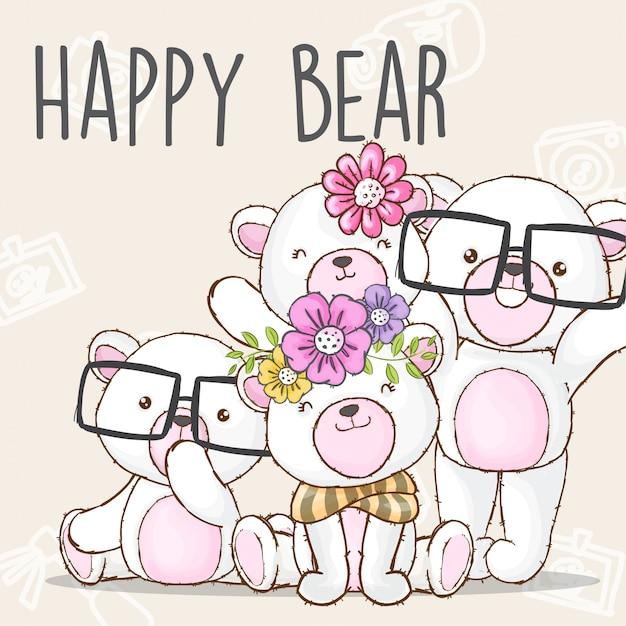 Счастливая семья медведь рисованной животных вектор Premium векторы
