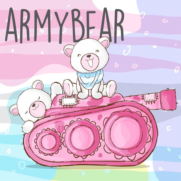 Симпатичный армейский медведь рисованной животных вектор Premium векторы