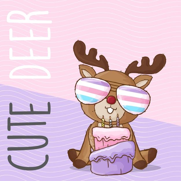 レインボーメガネとかわいい赤ちゃん鹿手描きの動物 Premiumベクター
