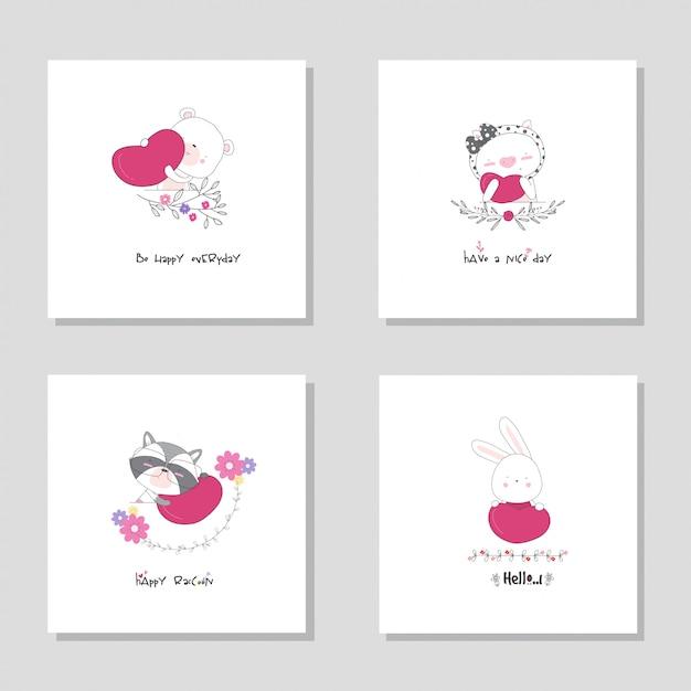 コレクションセット動物漫画動物。クマ豚アライグマバニー手描きイラスト Premiumベクター