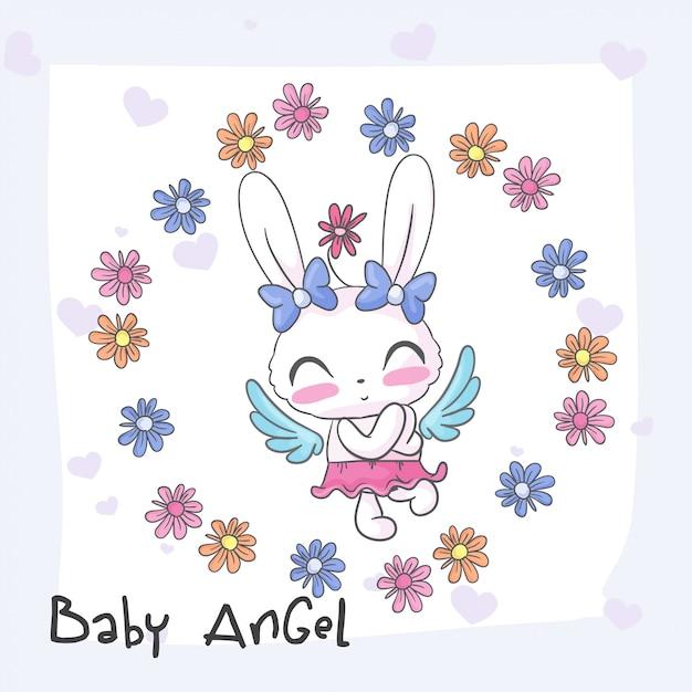 赤ちゃんバニーかわいい天使のシームレスパターン Premiumベクター