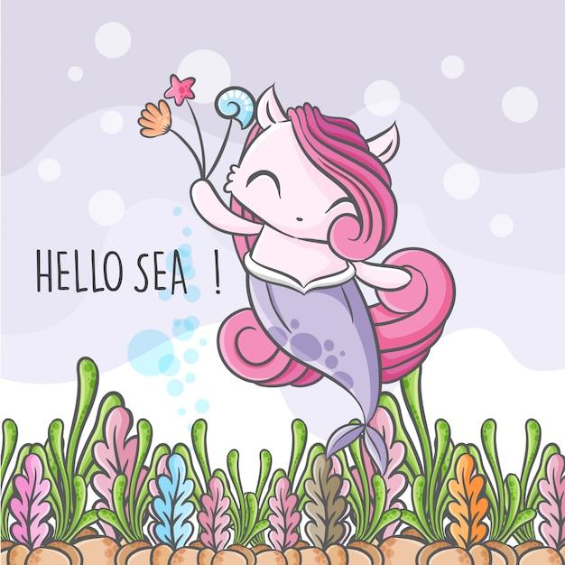 かわいい人魚のシームレスなパターン図幼稚 Premiumベクター