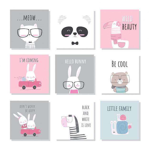 Симпатичные животные коллекция набор иллюстраций для детей Premium векторы