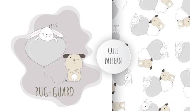 フラットシームレスパターンかわいい動物パグ子犬と眠っているウサギ Premiumベクター