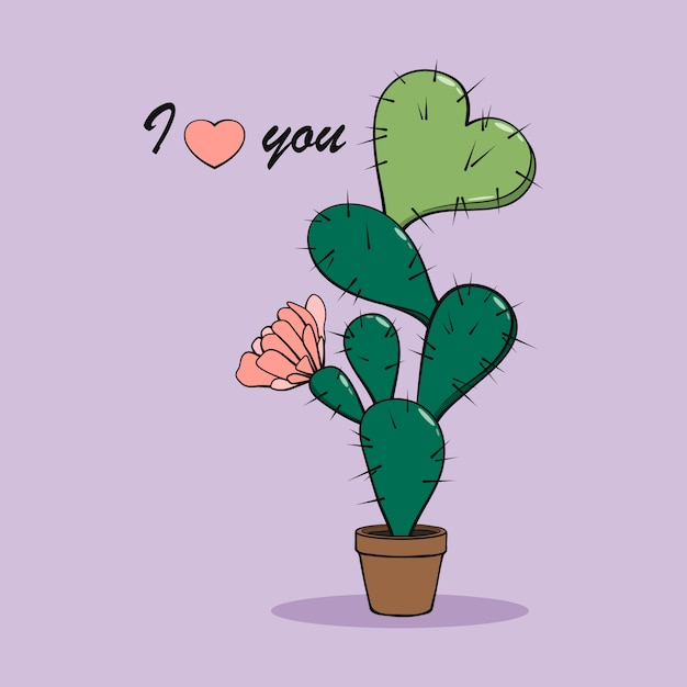 心とピンクの花が付いている鍋で漫画サボテン。わたしは、あなたを愛しています。 Premiumベクター