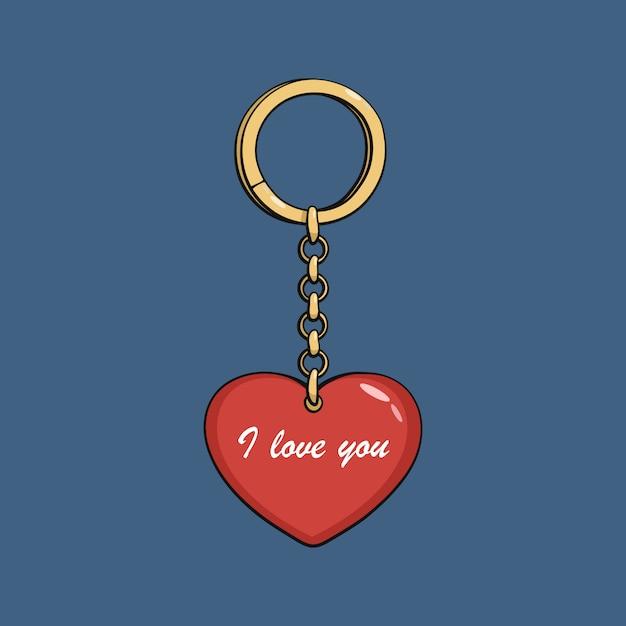 赤いハートの金のキーホルダーを漫画します。わたしは、あなたを愛しています。 Premiumベクター