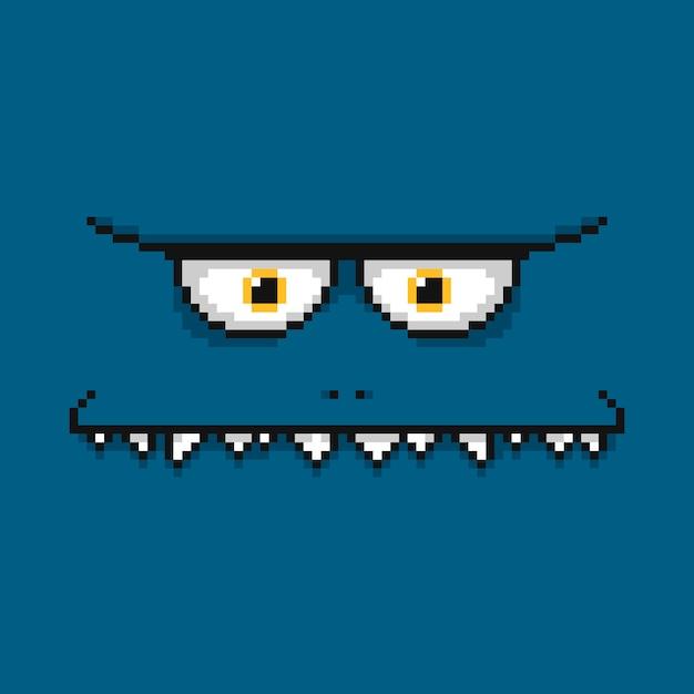Мультфильм смешной синий монстр лицо Premium векторы