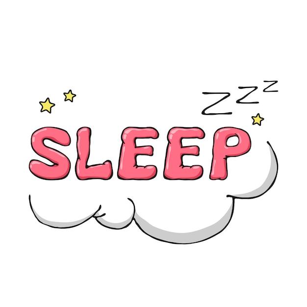 漫画手描き雲と星と睡眠のシンボル。 Premiumベクター