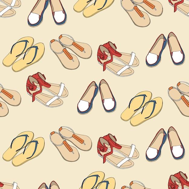 シームレスな靴のパターン Premiumベクター