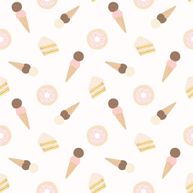 ケーキ、ドーナツ、アイスクリームとシームレスなパターンベクトル。 Premiumベクター
