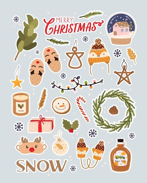 Счастливого рождества праздник надписи и традиционные рождественские элементы. большой вектор на рождество в скандинавском стиле. скрапбукинг, наклейки Premium векторы