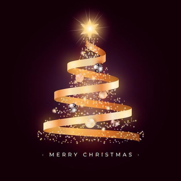 ゴールデンリボンと美しいクリスマスツリーカード 無料ベクター