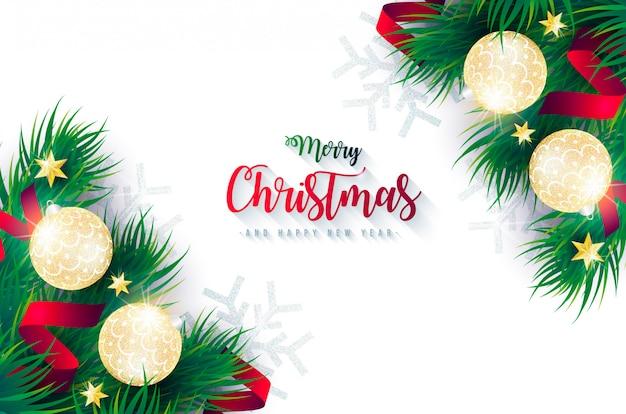 緑の枝と現実的なクリスマスの背景 無料ベクター