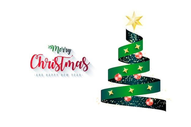 クリスマスツリーリボンとエレガントな背景 無料ベクター