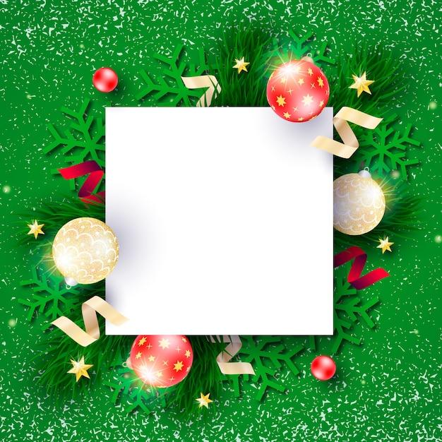 Красивая новогодняя рамка с зеленым фоном Бесплатные векторы