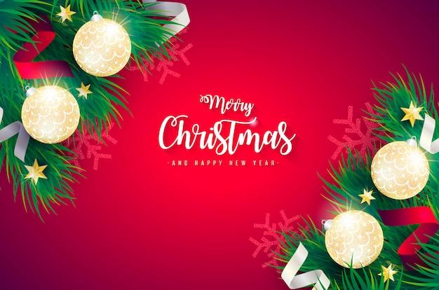 Реалистичная рождественский фон с зелеными ветками Бесплатные векторы