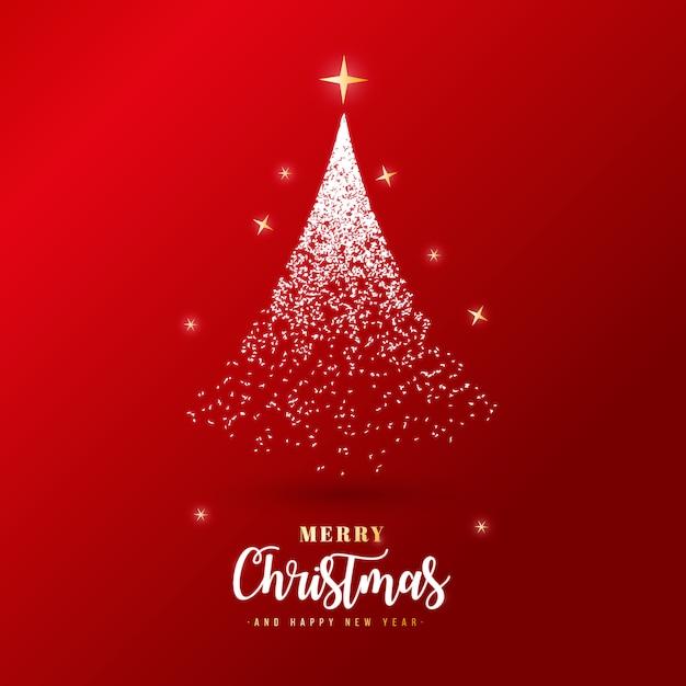 シルバーパーティクルと美しいメリークリスマスバナー 無料ベクター