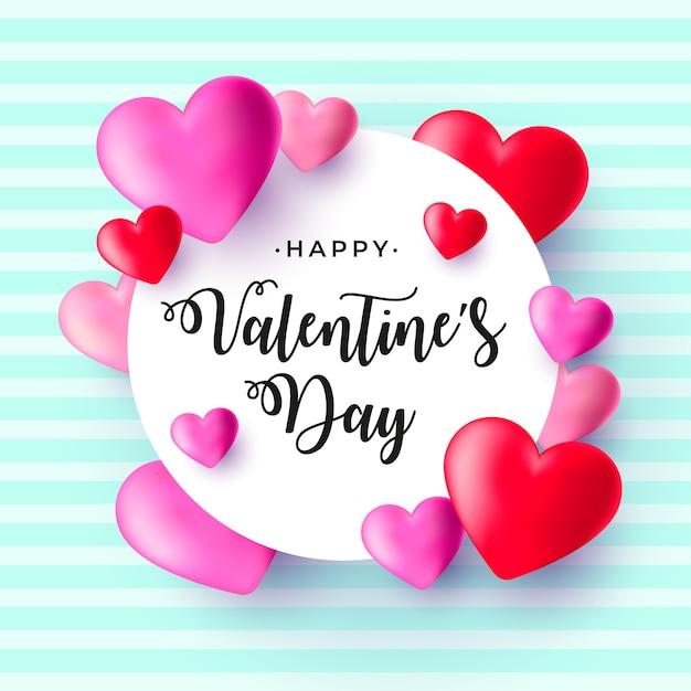 Реалистичный день святого валентина с сердечками Бесплатные векторы