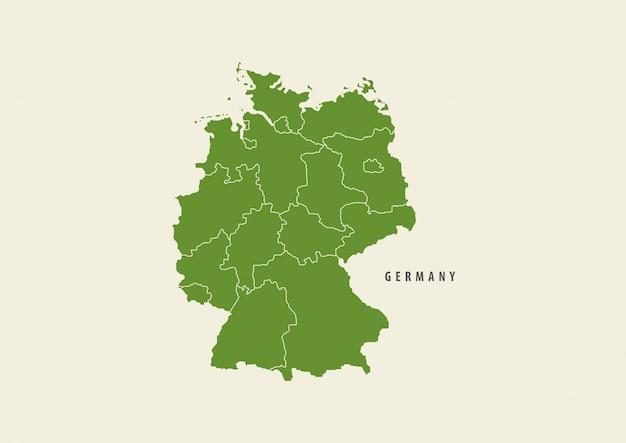 Зеленая карта германии подробно карта на белом фоне, концепция окружающей среды Premium векторы