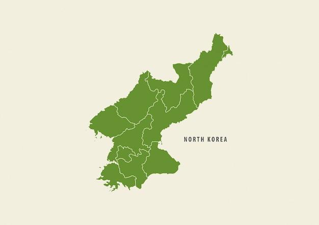 白い背景、環境コンセプトに分離されたグリーン北朝鮮マップ詳細マップ Premiumベクター