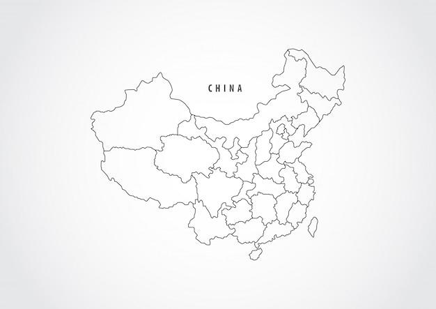 Контур карты китая на белом фоне. Premium векторы