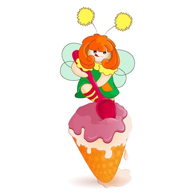 Маленькая фея копать ложкой большой большой мороженое в вафельном стаканчике. Premium векторы