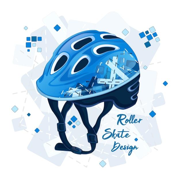 スーパースクーターのための幾何学模様の青いヘルメット。 Premiumベクター