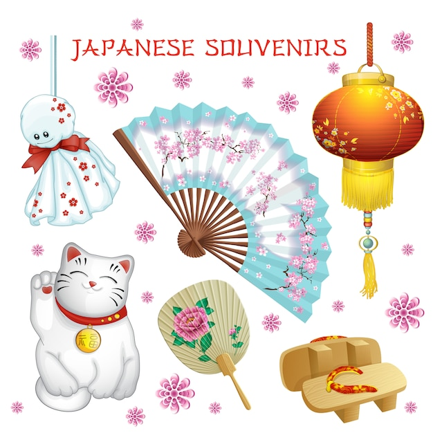 日本のお土産:ファン、懐中電灯、テルテルボド、下駄、猫。 Premiumベクター