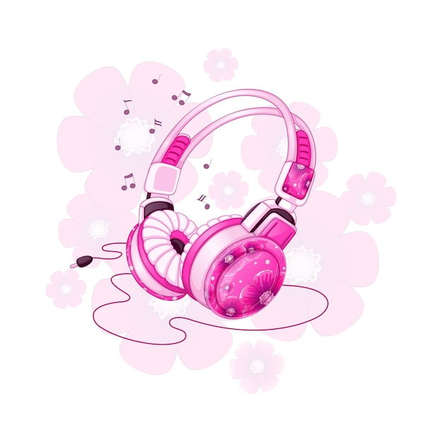 Стильные стереонаушники с розовым цветочным дизайном. Premium векторы
