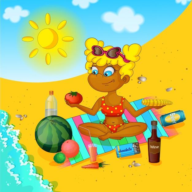 Девушка на пляже. Premium векторы