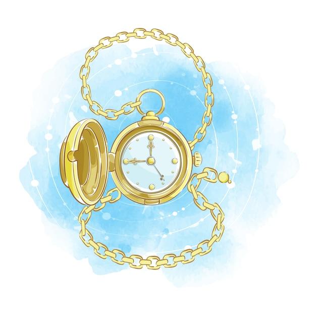 開いたふたと金の鎖でレトロなスタイルの金の腕時計。ビンテージアクセサリー紳士。 Premiumベクター