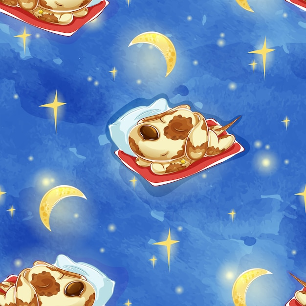 枕の上のかわいい眠っている犬のパターン。 Premiumベクター