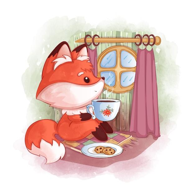 かわいい赤いキツネが丸い窓の近くに座って、熱いお茶を飲み、雨を見ています。 Premiumベクター