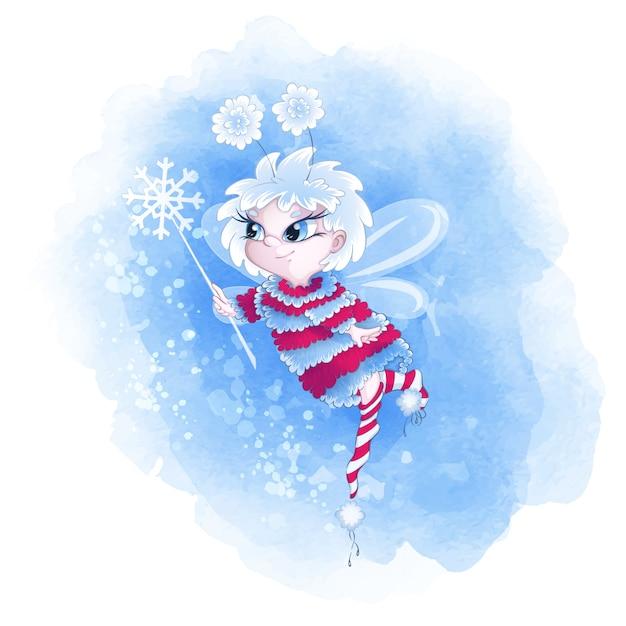 暖かいセーターとストライプソックスでかわいい冬の妖精。 Premiumベクター
