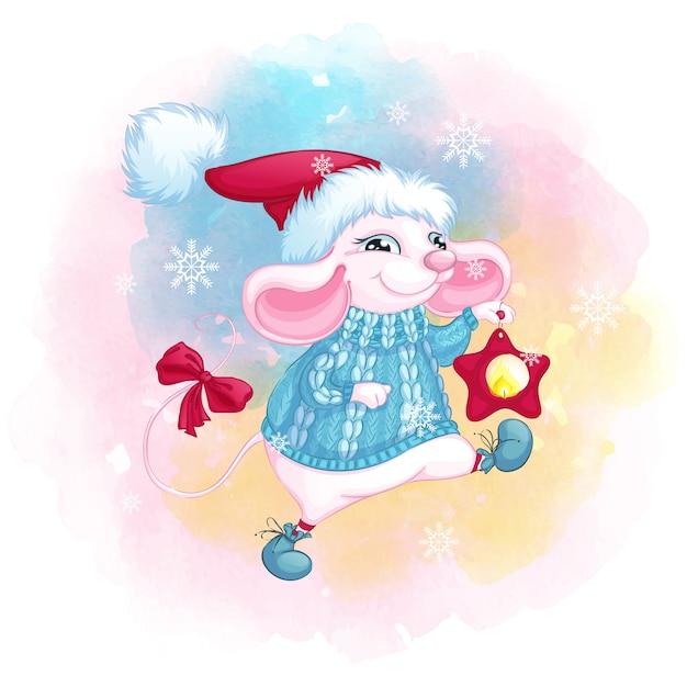 サンタクロースの帽子と星のクリスマスランタンとニットの青いセーターのかわいい白いマウス Premiumベクター